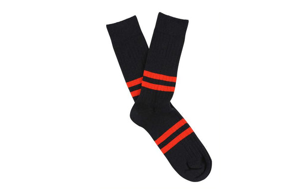 Escuyer Stripe socks navy / orange