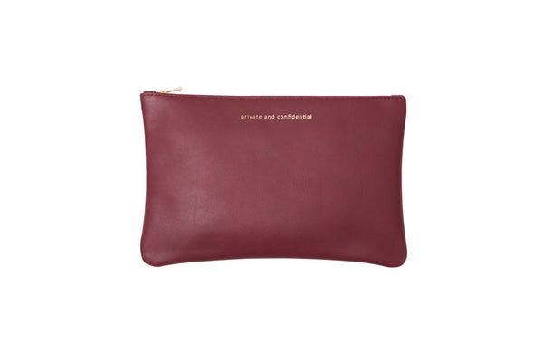 byB&K Etui large burgundy red and pink zipper PRIVATE AND CONFIDENTIAL