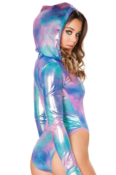 Cotton Candy Hooded Bodysuit - Rave Bodysuits & One Pieces, J Valentine - YourLamode