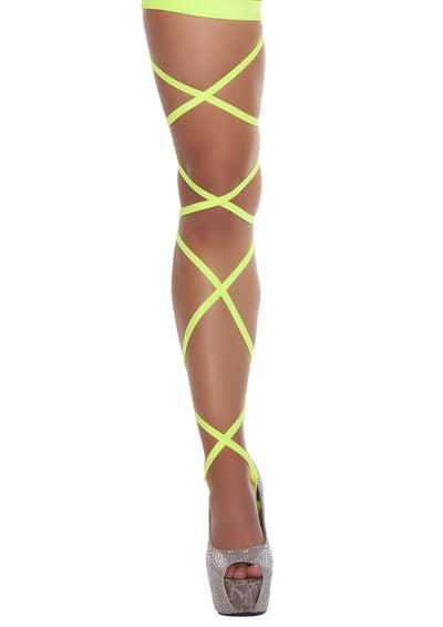 "Pair of 100"" Solid Leg Straps with Attached Thigh Garters - Rave Costume, Roma Costume, YourLamode"