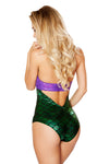 Purple Green Padded Shell Look Tie Top with Attached Bodysuit - Roma Costume, Plur Tie Top - YourLamode - 2