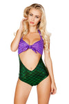 Purple Green Padded Shell Look Tie Top with Attached Bodysuit - Rave Bodysuits & One Pieces, Roma - YourLamode