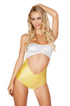 White Yellow Strapless Cutout Plurmaid Bodysuit - Rave Bodysuits & One Pieces, Roma - YourLamode