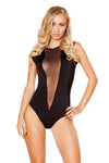 Black Bodysuit with V-Shape Sheer Detail - Rave Bodysuits & One Pieces, Roma - YourLamode
