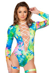 Printed Lace-up Long Sleeved Bodysuit - Rave Bodysuits & One Pieces, Roma - YourLamode