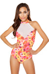 Flower Printed Bodysuit with Sheer Detail - Roma Costume, All Over Print Bodysuit - YourLamode - 1