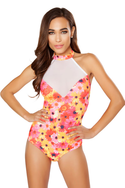 Flower Printed Bodysuit with Sheer Detail - Rave Bodysuits & One Pieces, Roma - YourLamode