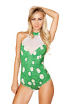 Grass Printed Bodysuit with Sheer Detail - All Over Print Bodysuit, Roma Costume, YourLamode