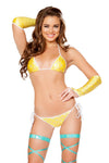 Yellow 2pc Tie Side Pucker Back Plurmaid Bikini Set - Roma Costume, Plurmaid Bikini Set - YourLamode