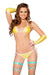 Yellow 2pc Tie Side Pucker Back Plurmaid Bikini Set