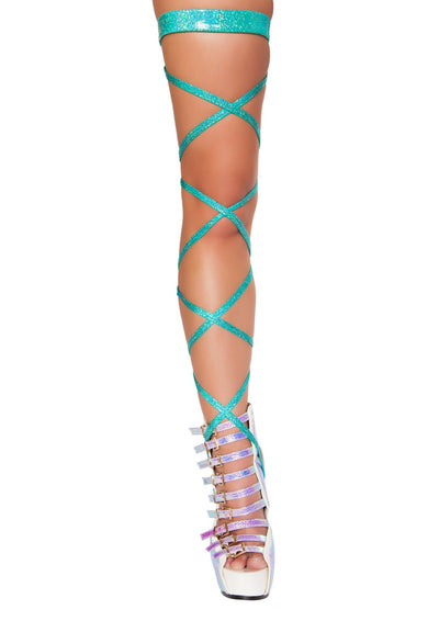 "Pair 100"" Shimmer Leg Strap with Attached Garter - Leg Strap with Attached Garter, Roma Costume, YourLamode"