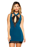 Cutout Dress with Striped Mesh - Mini Dresses, Roma - YourLamode