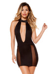Cutout Dress with Sheer Mesh - Mini Dresses, Roma - YourLamode