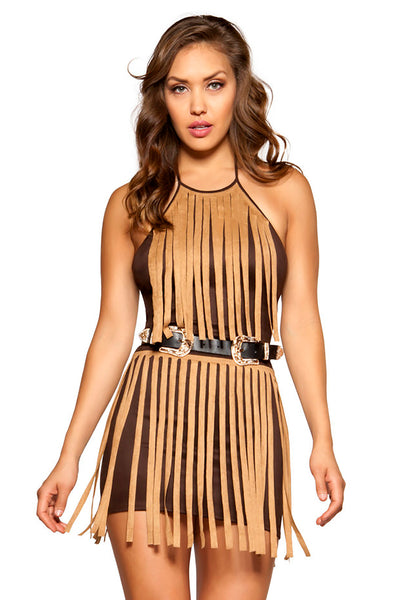 Suede Dress with Fringe