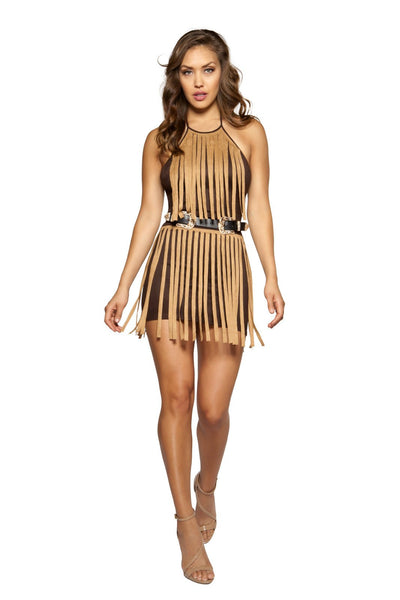 Suede Dress with Fringe - Rave Party, Roma Costume, YourLamode