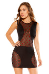 Mini Dress with Star Shaped Glitter Sheer Mesh Panels - Mini Dresses, Roma - YourLamode