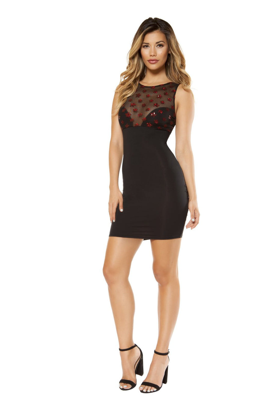 Dress with Star Shaped Mesh Top