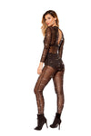 Glitter Sheer Mesh Jumpsuit - Rave Bodysuits & One Pieces, Roma - YourLamode