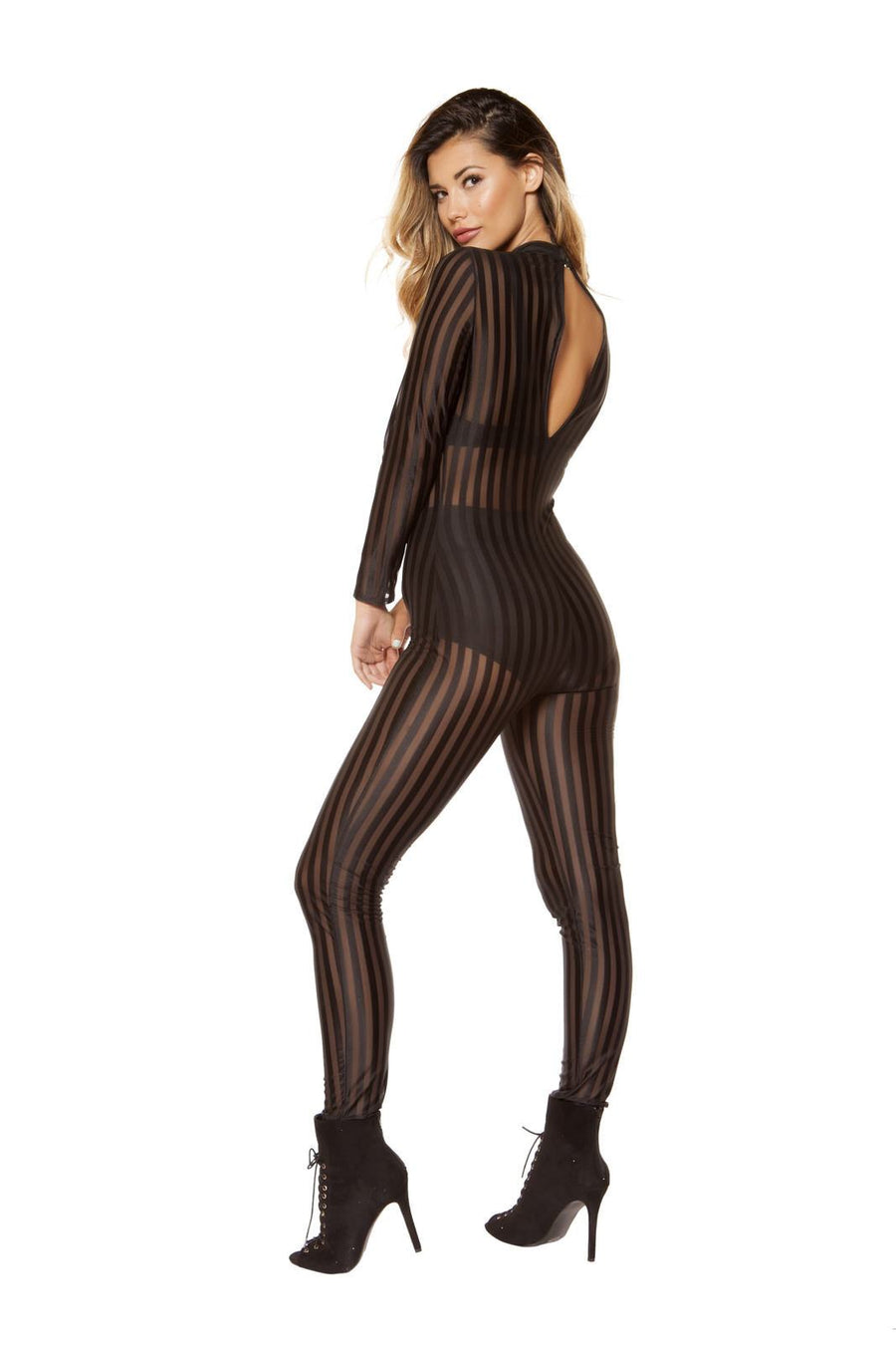 Semi-Sheer Striped Mesh Jumpsuit - Rave Party, Roma Costume, YourLamode