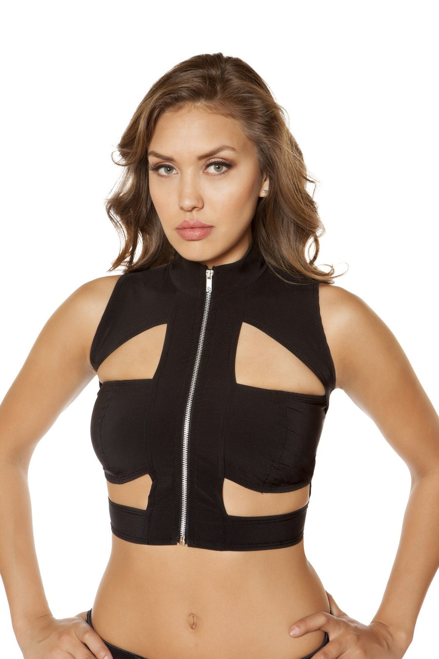 Cutout Crop Top with Zipper - Rave Party, Roma Costume, YourLamode