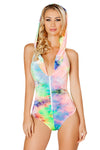 Tie Dye Velvet Hooded Mesh Zip Up Romper - Rave Bodysuits & One Pieces, Roma - YourLamode