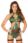 Criss-Cross Bodysuit with Zip Closure - Rave Bodysuits & One Pieces, Roma - YourLamode