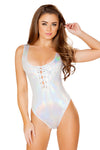 Bodysuit with Lace-Up Detail - Rave Bodysuits & One Pieces, Roma - YourLamode
