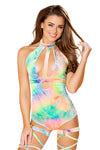 Tie Dye Velvet Holster Cutout Bodysuit - Rave Bodysuits & One Pieces, Roma - YourLamode