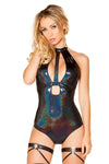 Shimmer Holster Cutout Bodysuit - Rave Bodysuits & One Pieces, Roma - YourLamode