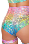 Colorful High Waisted shorts - High Waisted Rave shorts, Roma - YourLamode