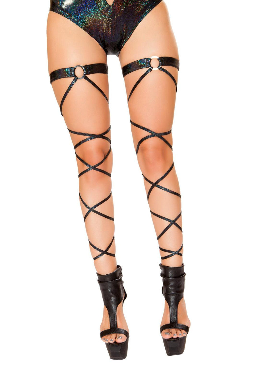 Pair of Shimmer Leg Wraps with O-Ring Garter - Roma Costume, YourLamode