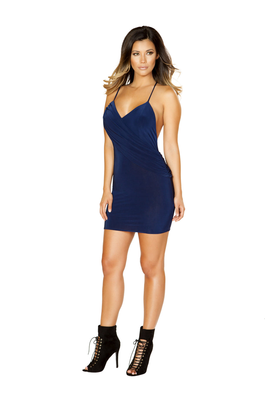 Mini Dress with Attached Overlap Panel - Mini Dresses, Roma - YourLamode