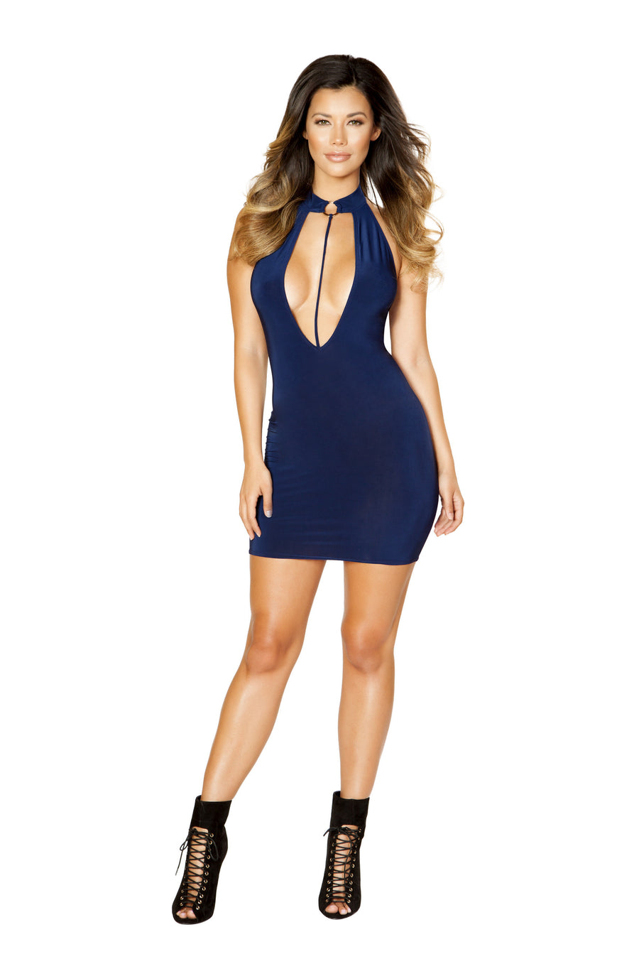 Cutout Dress with Ring Detail and Attached Strap - Mini Dresses, Roma - YourLamode
