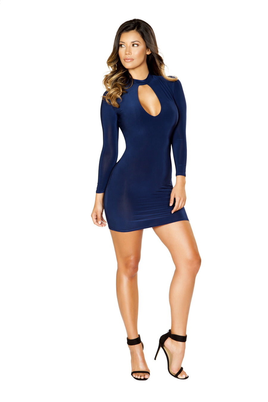 Long Sleeve Dress with Cutout Detail - Mini Dresses, Roma - YourLamode