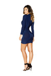 Roma Clubwear Long Sleeve Dress with Cutout Detail Back