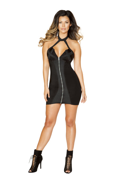 Roma Clubwear Black Zip-up Dress with Criss-Cross Two Tone Detail