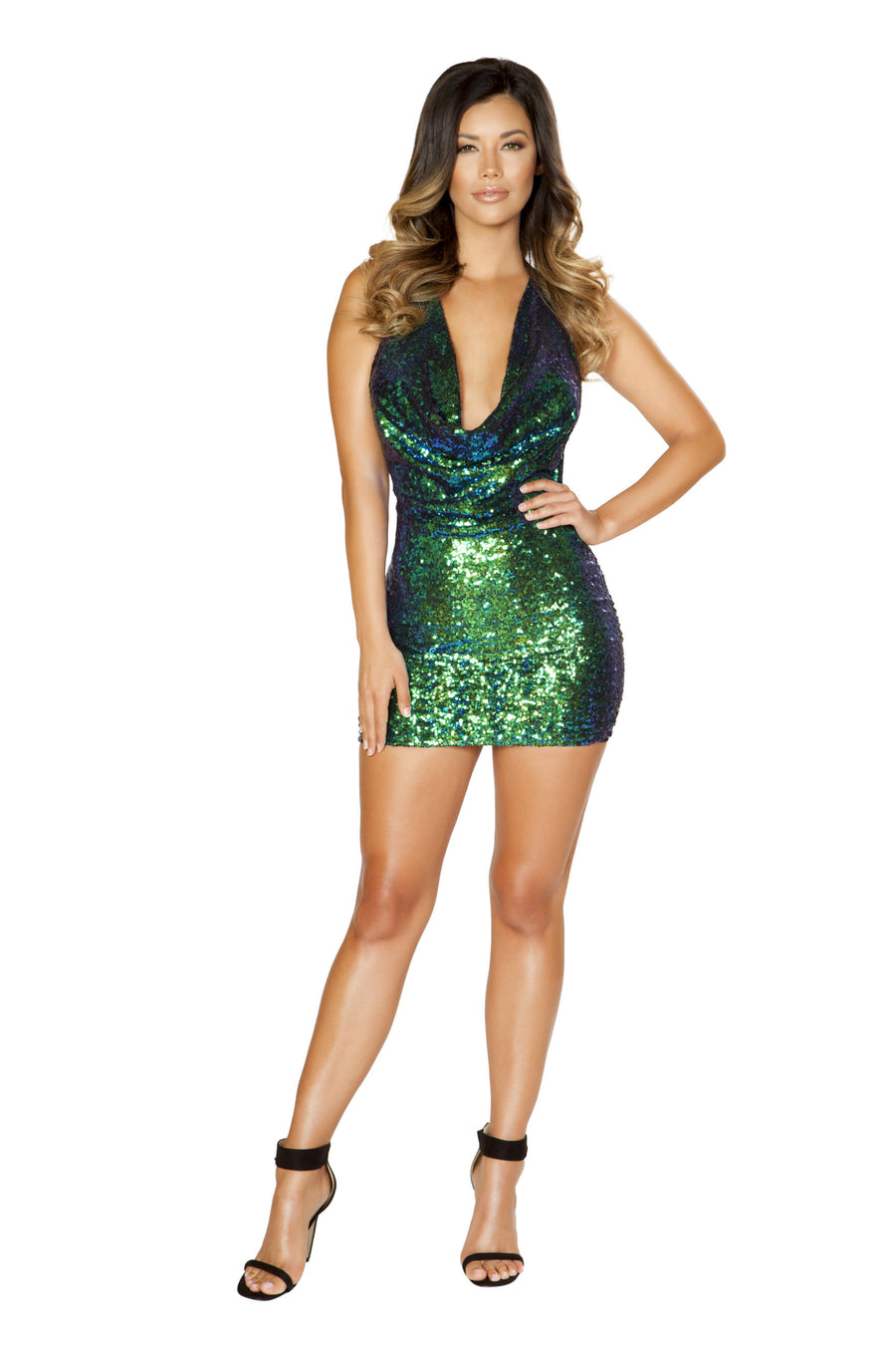 Iridescent Sequin Cowl Neck Dress - Mini Dresses, Roma - YourLamode