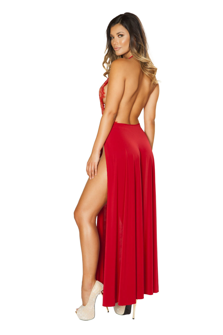 Maxi Length High Slit Dress - Dresses, Roma - YourLamode