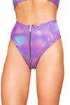 Purple High-Waisted Shorts with Zipper - High Waisted Rave shorts, Roma - YourLamode