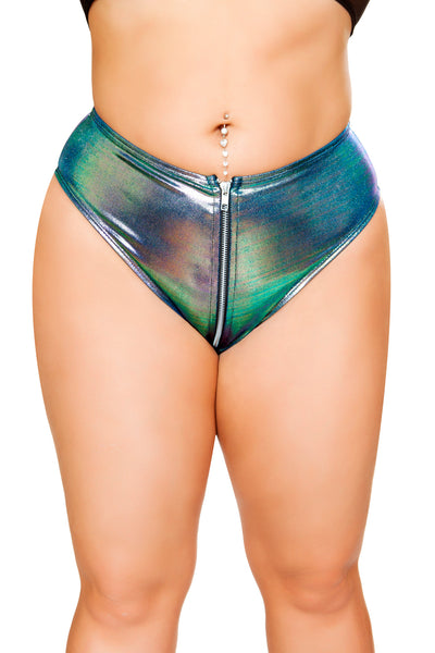 Iridescent High-Waisted Shorts with Zipper - High Waisted Rave shorts, Roma - YourLamode