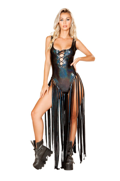 Lace up Bodysuit with Long Fringe Detail - Rave Bodysuits & One Pieces, Roma - YourLamode