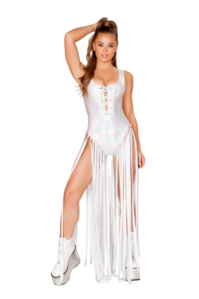 Lace up White Bodysuit with Fringe Detail - Rave Bodysuits & One Pieces, Roma - YourLamode