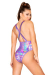 Shimmer Purple Overall Bodysuit - Rave Bodysuits & One Pieces, Roma - YourLamode