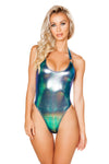 High Cut Hologram Bodysuit with O-Ring Detail - Rave Bodysuits & One Pieces, Roma - YourLamode