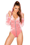 Zip up Velvet Long Sleeved Hoodie Bodysuit - Rave Bodysuits & One Pieces, Roma - YourLamode
