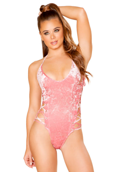 Peach Velvet Lace-up Bodysuit - Rave Bodysuits & One Pieces, Roma - YourLamode
