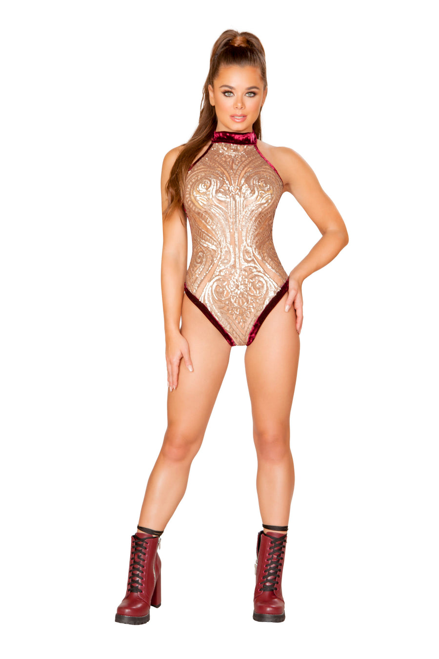 Sheer Sequin Bodysuit with Velvet Back - Rave Bodysuits & One Pieces, Roma - YourLamode
