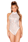 Sheer White Bodysuit with Velvet Back - Rave Bodysuits & One Pieces, Roma - YourLamode