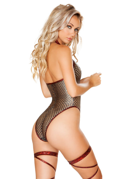 Fishnet Metallic Bodysuit - Rave Bodysuits & One Pieces, Roma - YourLamode