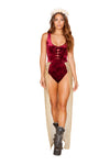 Burgundy Velvet Bodysuit with Glitter Skirt - Rave Bodysuits & One Pieces, Roma - YourLamode